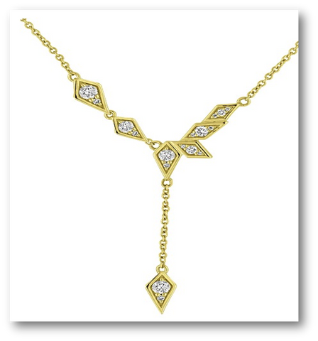 14K Gold Diamond Birds of Paradise Short Lariat Necklace