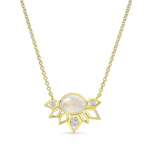 14K Gold Diamond & Opal Plumage Necklace