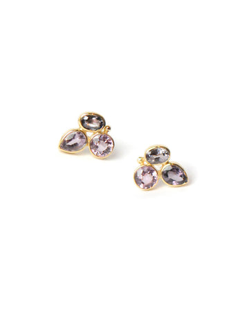 14K Gold Multi Color Spinel Bouquet Stud Earrings