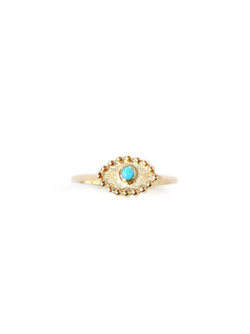 14K Gold Turquoise Round Drop Evil Eye Ring