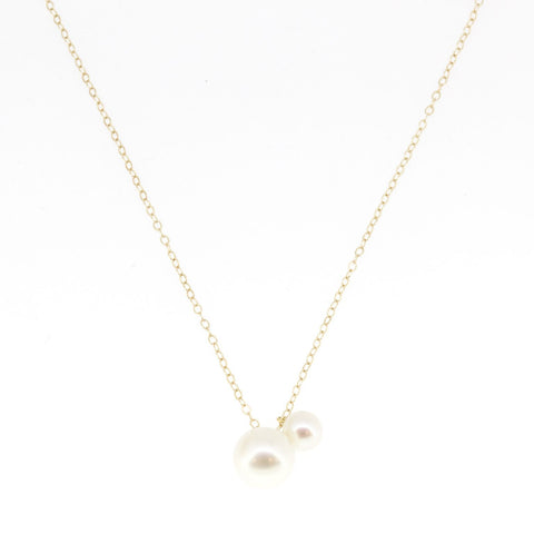 14K Yellow Gold White Freshwater Pearl Double Necklace