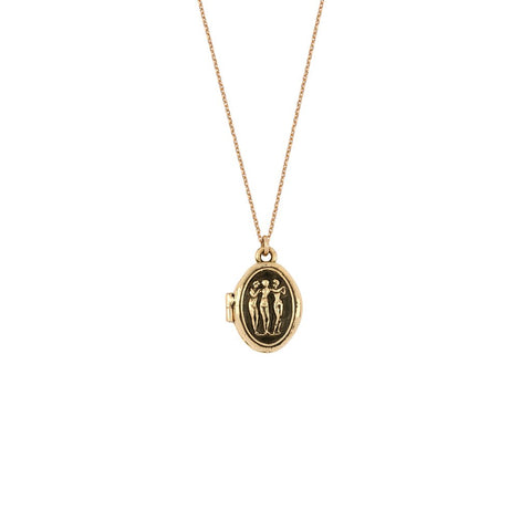 14K Gold Three Graces Talisman Locket