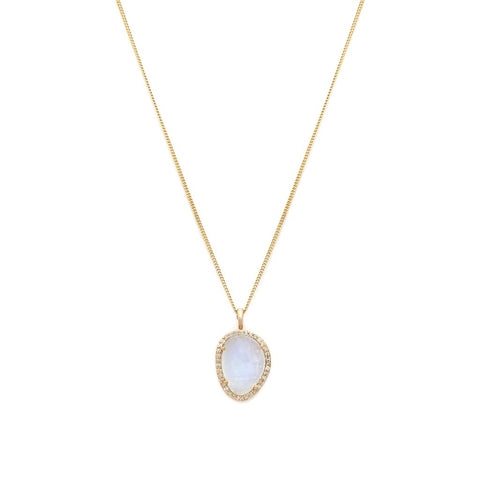 Etereo - 14K Gold Moonstone & Diamond Necklace