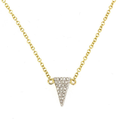 14K Yellow Gold White Diamond Baby Triangle Necklace