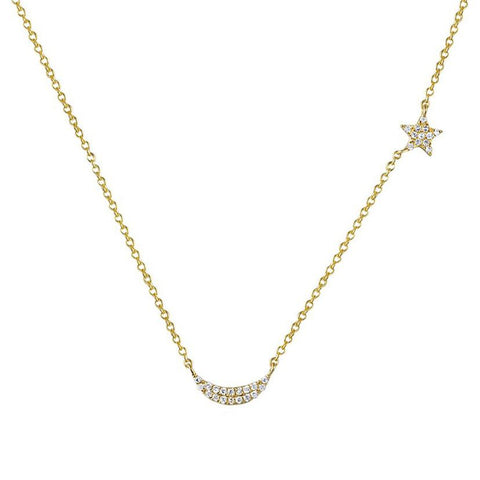 14K Yellow Gold White Diamond Star to Moon Necklace
