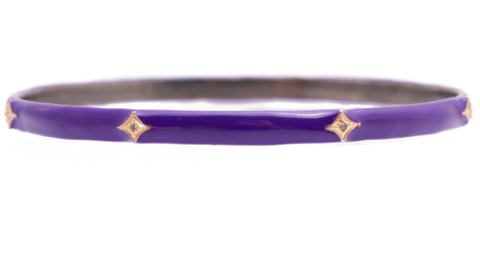 14K Gold & Oxidized Sterling Silver, Champagne Diamonds, Purple Enamel With Crivelli Accents Bangle