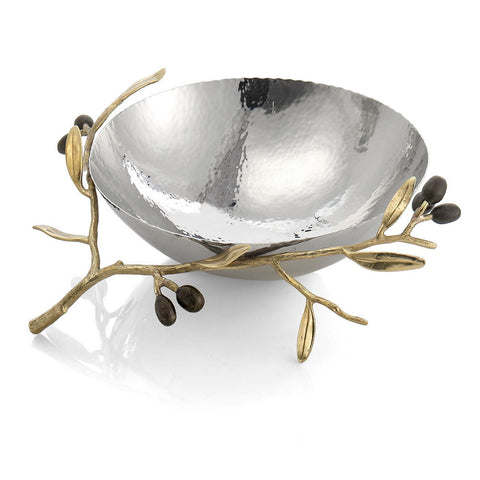 Olive Branch Gold Medium Serving Bowl