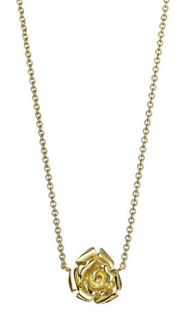 18K Gold Rose Necklace