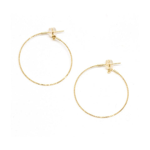 18K Yellow Gold Medium Skinny Beaded Hoop Earrings