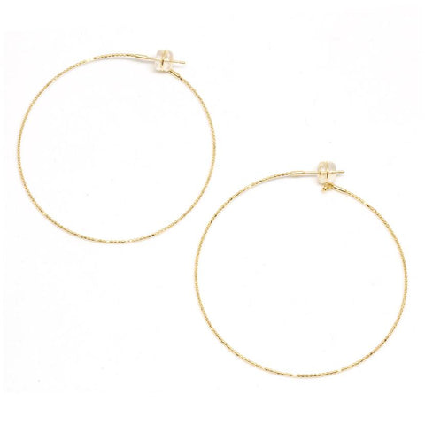 18K Yellow Gold Large Skinny Beaded Hoop Earrings