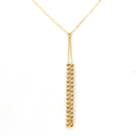 18K Yellow Gold Shiort Shimmer Dangle Necklace