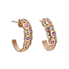 "18K Rose Gold ""Candy"" Half Hoop Earrings with Diamonds & Sapphires"