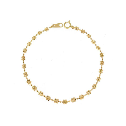 14K Yellow Gold Beaded Flower Bracelet
