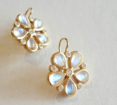 18k Gold, Blue Moonstone, Diamond Earrings