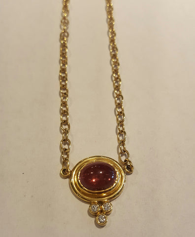 18k Gold Pink Tourmaline & Diamond Necklace