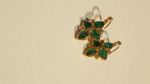18k Gold Persia Emerald, Diamond Earrings