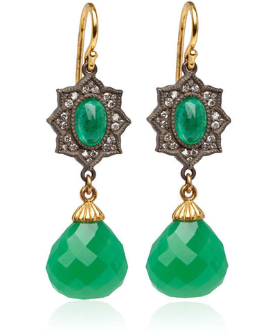 22K Gold & Oxidized Sterling Silver Diamond, Tsavorite & Chrysoprase Earrings