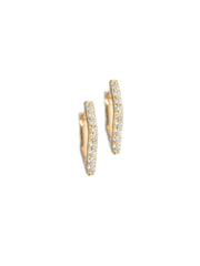 14K Gold White Diamond Rhombus Huggie Earrings