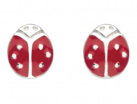 Sterling Silver Enamel Ladybird Stud Earrings