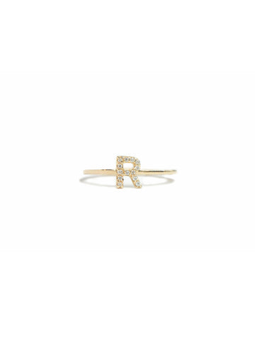 "14K Gold & Pave Diamonds, Initial ""R"" Ring"