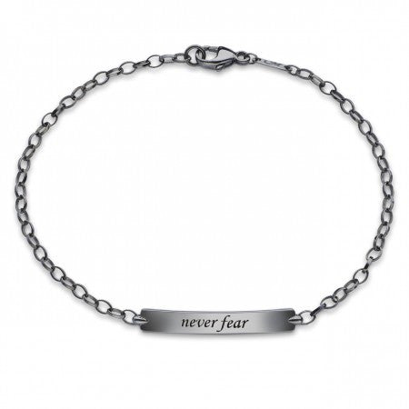 "Sterling Silver Black Rhodium Plated ""Never Fear"" Petite ID Bracelet"