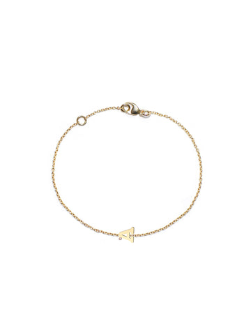 "14K Gold & 1 Diamond, Love Letter ""A"" Bracelet"