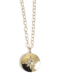 14K Gold, White Topaz & Diamonds, Starburst Locket Necklace