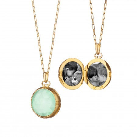 18K Gold Green Opal Slice with Faceted Rock Crystal Necklace
