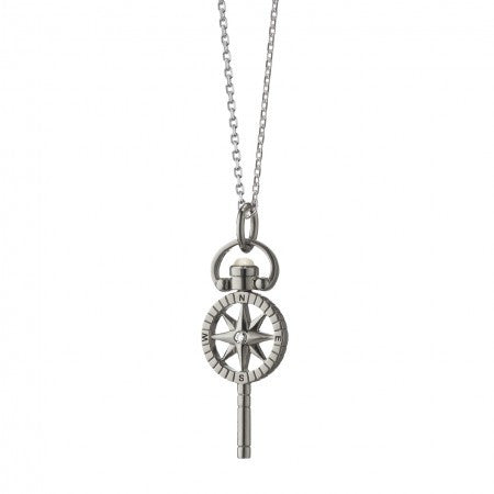 Sterling Silver Mini Compass Pocket Watch Key Charm Necklace