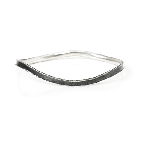 Oxidized Sterling Silver Fluted Wide Bangle Medium