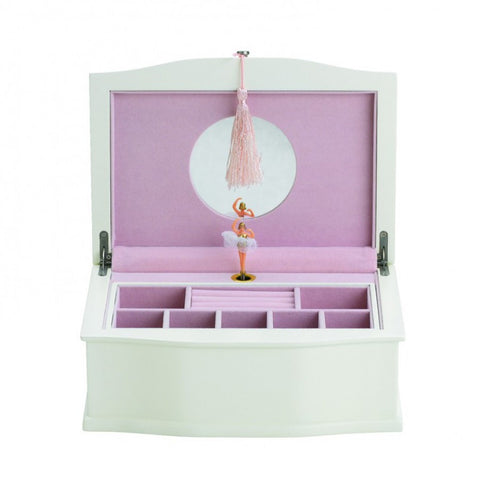 Ballerina Musical Jewelry Chest White