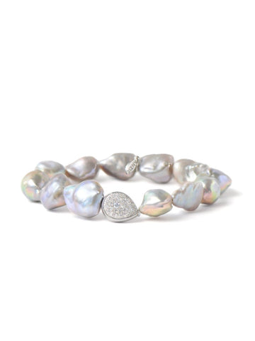 Sterling Silver Baroque Grey Pearl & White Topaz Pear Bracelet