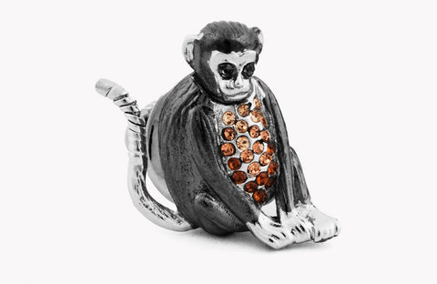 Sterling Silver & Gunmetal, Swarovski Crystal, Mechanical Animal Monkey Lapel Pin