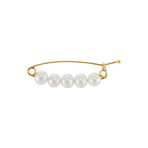 14K Yellow Gold Freshwater Pearl Brooch