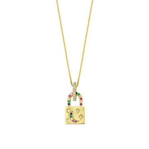 Vermeil Multi Color CZ Small Lock Necklace