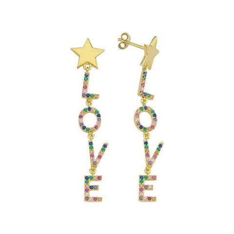 Vermeil Multi Color CZ Love Drop Earrings