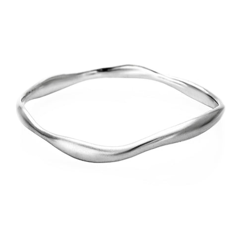 Sterling Silver Wide Wave Bangle Small
