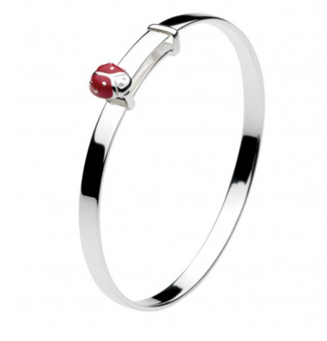 Sterling Silver Enamel Ladybird Bangle