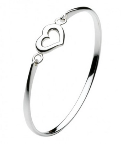 Sterling Silver Simple Heart Bangle