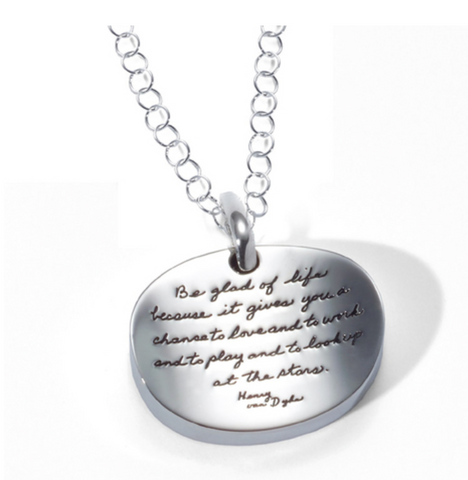 "Sterling Silver ""Be Glad"" Bowl Necklace"