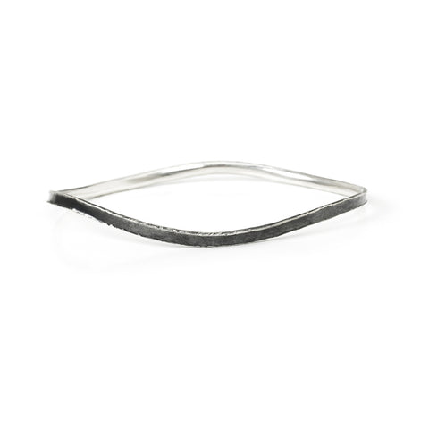 Oxidized Sterling Silver Fluted Narrow Bangle Medium