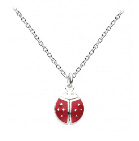 Sterling Silver Enamel Flying Ladybird Necklace