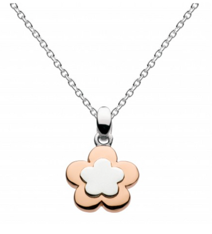 Sterling Silver 18K Rose Gold Plate Flower Necklace