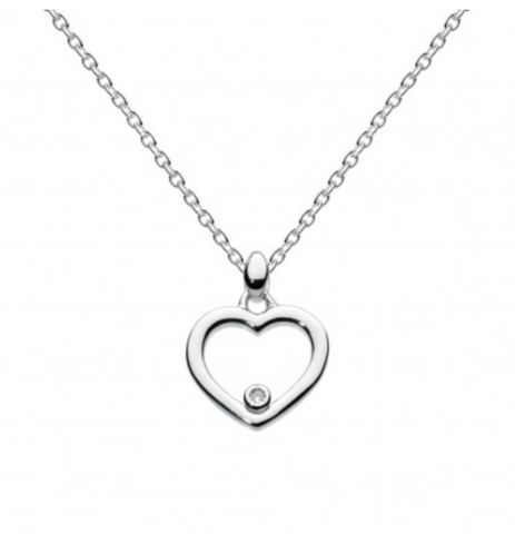Sterling Silver Dinky Diamond Heart Necklace