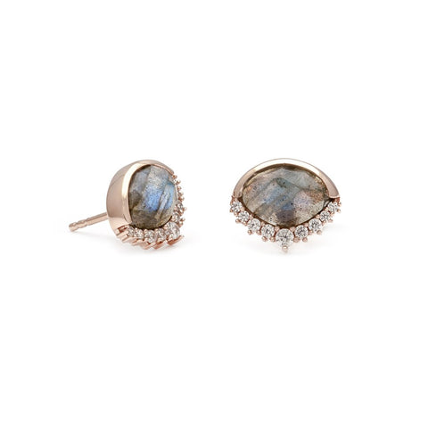 Anni - Rose Gold Plate Labradorite & CZ Stud Earrings