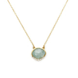 Anni - Gold Plate & Gold Fill Chain Aquamarine & CZ Necklace