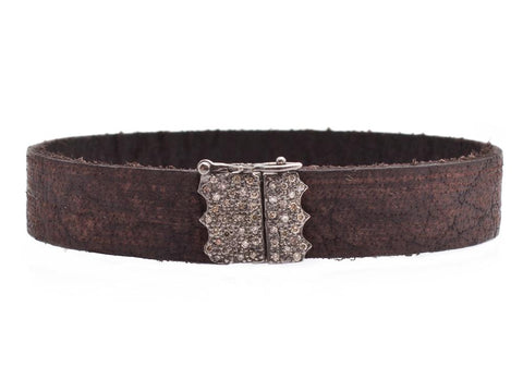 Blackened Sterling Silver & Champagne Diamonds, Vintage Brown Leather Bracelet