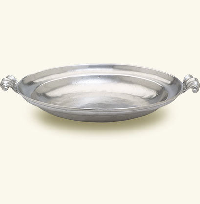 Round, Low Bowl With Scroll Handles