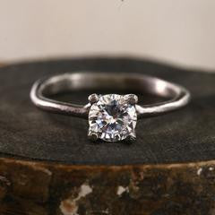 18K White Gold High Palladium CZ Prong Ring