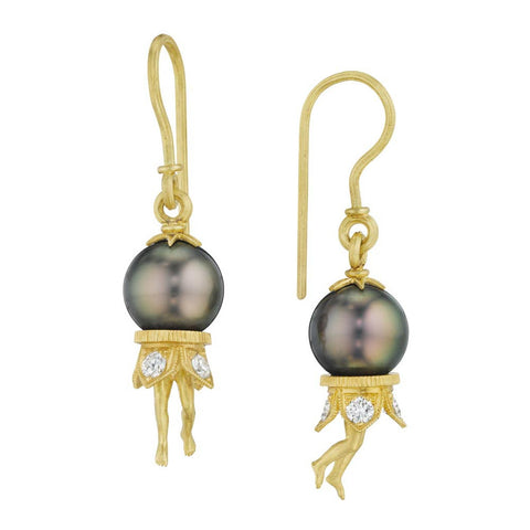 18K Gold Tahitian Pearl & Diamond Bosch Earrings